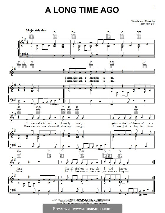 A Long Time Ago: For voice and piano (or guitar) by Jim Croce