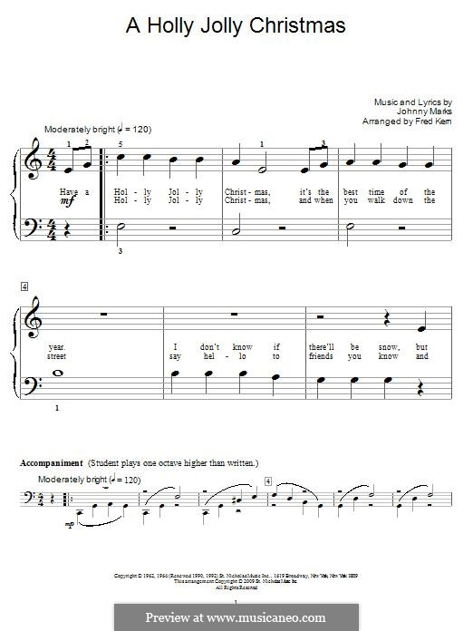 A Holly Jolly Christmas: For piano by Johnny Marks
