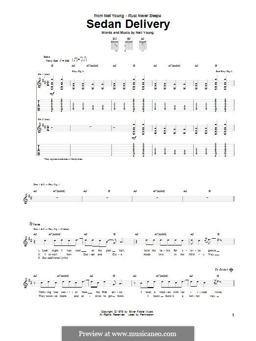 Sedan Delivery: For guitar with tab by Neil Young