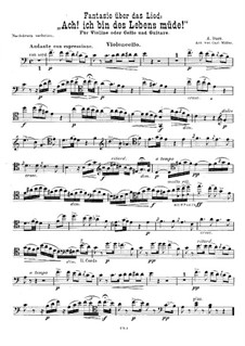 Fantasia on Song 'Ach! ich bin des Lebens müde!': For violin (or cello) and guitar – cello part by Adam Darr