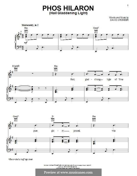 Phos Hilaron (Hail Gladdening Light): For voice and piano (or guitar) by David Crowder