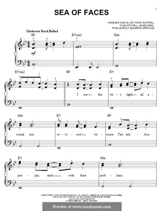 Sea of Faces (Kutless): For piano by Jon Micah Sumrall, Aaron Sprinkle, Kyle Mitchell, James Mead, Ryan Shrout