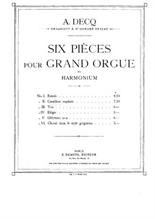 Six Pieces for Organ: No.2 Cantilena by Adhemar Decq