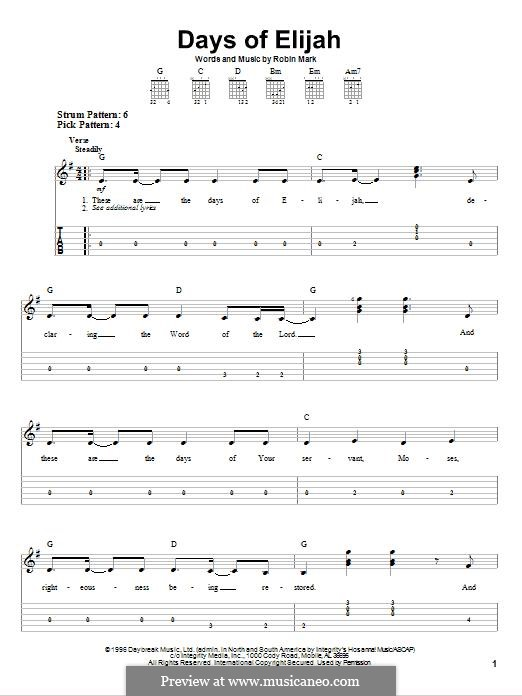 Days of Elijah: For guitar with tab by Robin Mark