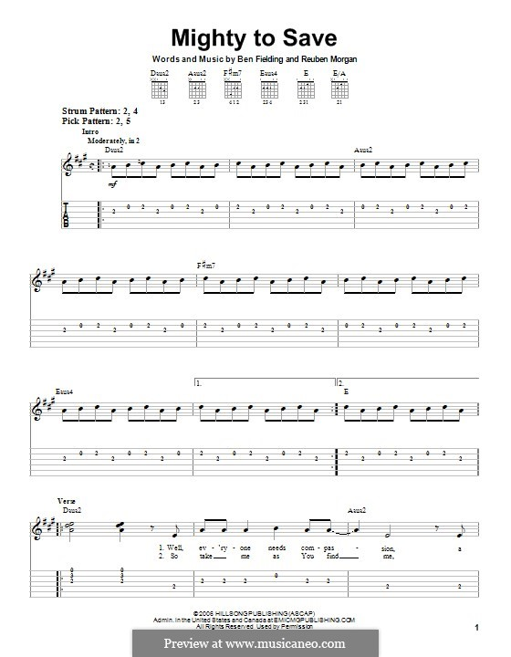 Mighty to Save (Hillsong UNITED): For guitar with tab by Ben Fielding, Reuben Morgan