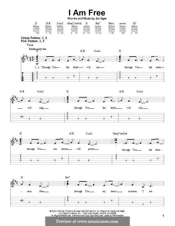 I am Free (Newsboys): For guitar with tab by Jon Egan