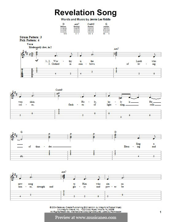 Revelation Song (Passion): For guitar with tab by Jennie Lee Riddle