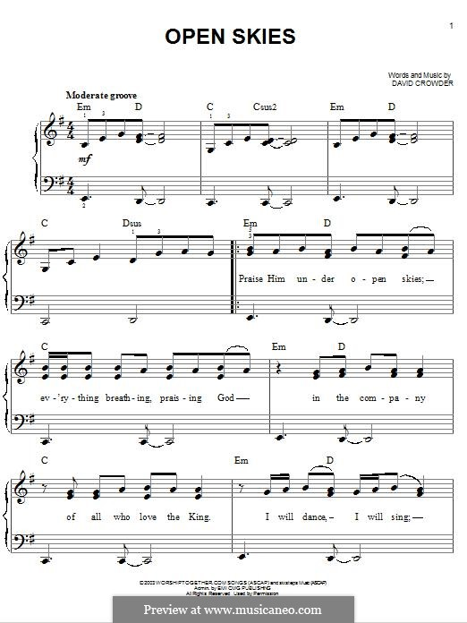 Open Skies (David Crowder Band): For piano by David Crowder