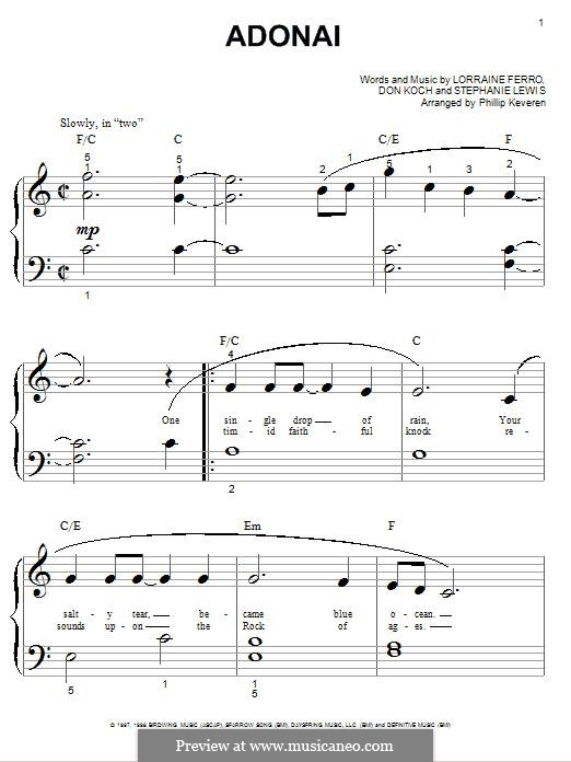 Adonai (Avalon): For piano by Don Koch, Stephanie Lewis, Lorraine Ferro