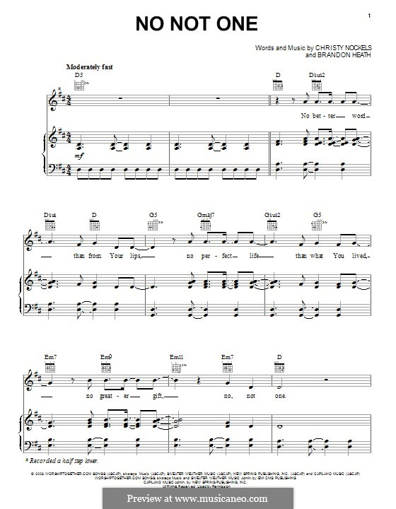 No not One: For voice and piano (or guitar) by Brandon Heath, Christy Nockels