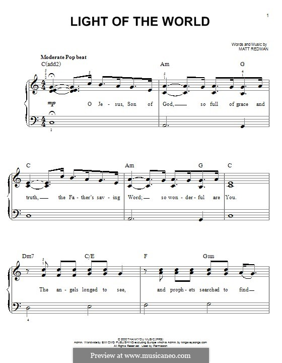 Light of the World: For piano by Matt Redman