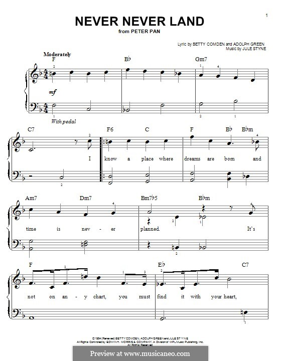Never Never Land: For piano by Jule Styne