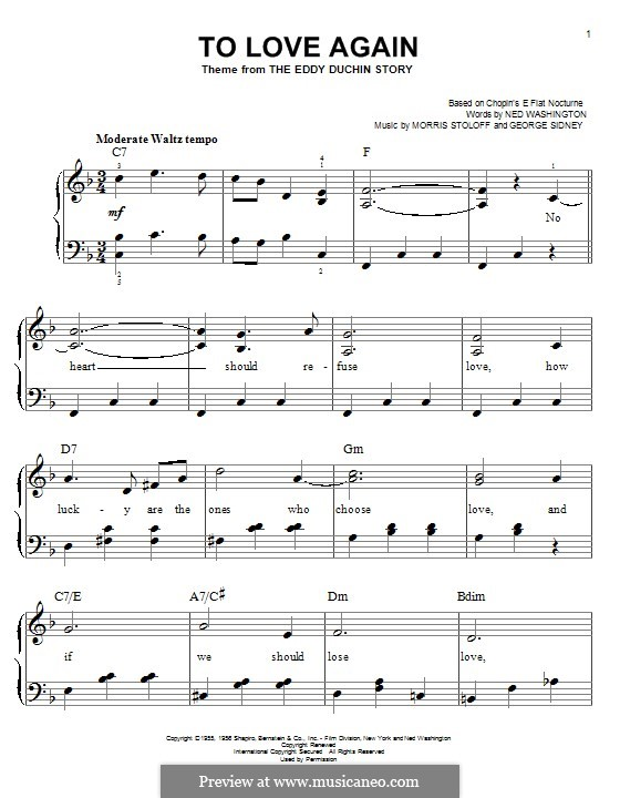 To Love Again: For piano by Morris Stoloff, George Sidney
