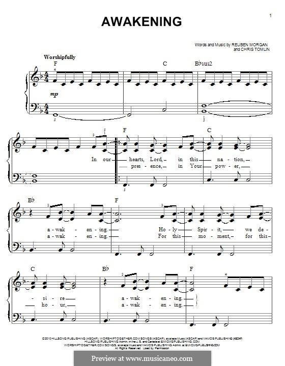 Awakening (Passion): For piano by Chris Tomlin, Reuben Morgan