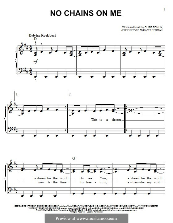 No Chains on Me: For piano by Chris Tomlin, Jesse Reeves, Matt Redman