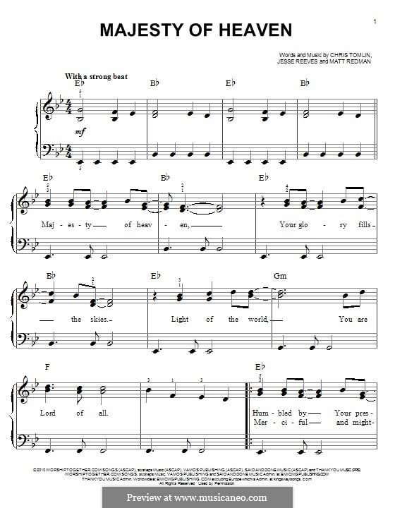 Majesty of Heaven: For piano by Chris Tomlin, Jesse Reeves, Matt Redman