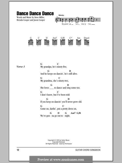 Dance Dance Dance (The Steve Miller Band): Lyrics and chords by Jason Cooper, Steve Miller, Brenda Cooper