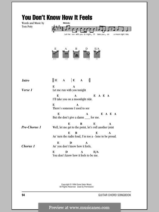 You Dont Know How It Feels By T Petty Sheet Music On Musicaneo