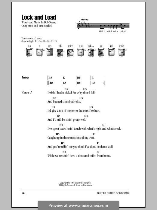 Lock and Load: Lyrics and chords by Bob Seger, Tim Mitchell, Craig Frost