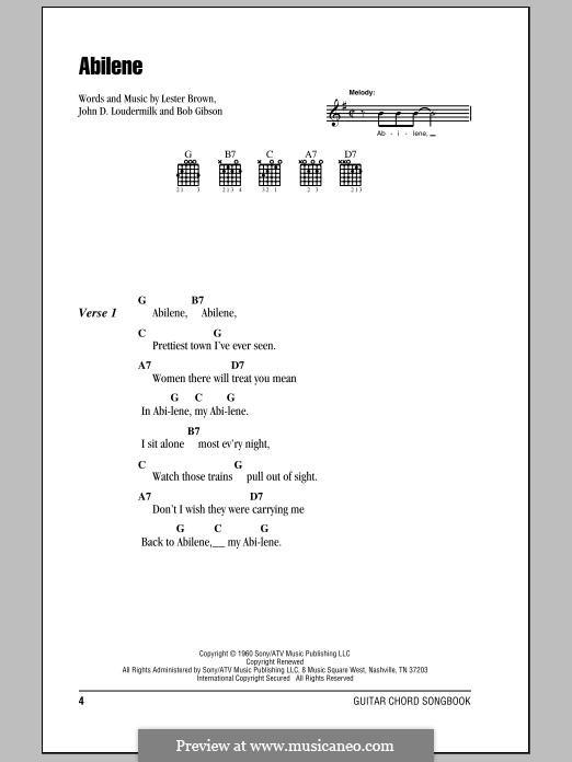 Abilene (George Hamilton IV): Lyrics and chords by John D. Loudermilk, Bob Gibson, Lester Brown