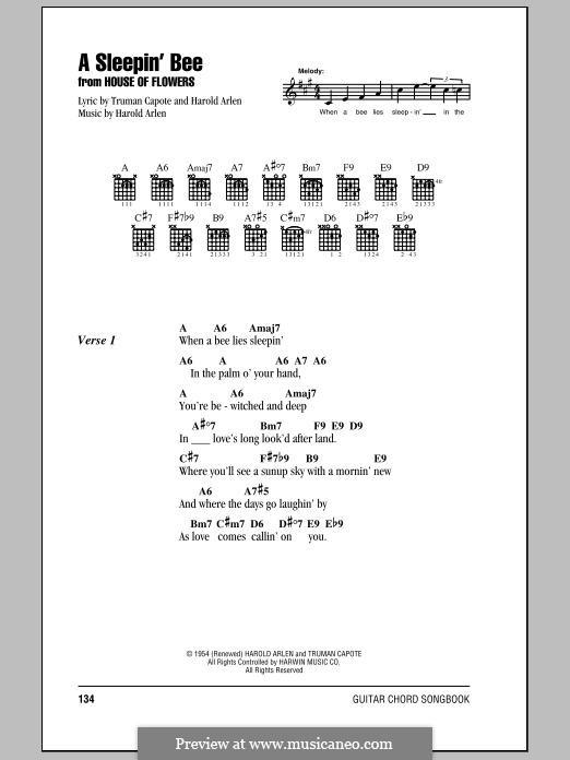 A Sleepin' Bee: Lyrics and chords by Harold Arlen
