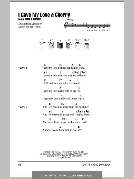I Gave My Love a Cherry (The Riddle Song): Lyrics and chords by folklore