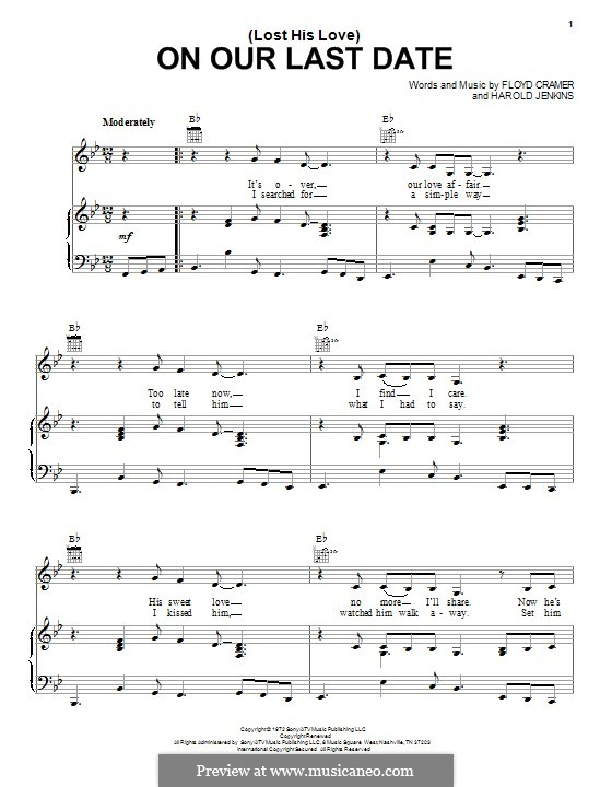 (Lost Her Love) On Our Last Date: For voice and piano (or guitar) by Floyd Cramer, Harold Jenkins