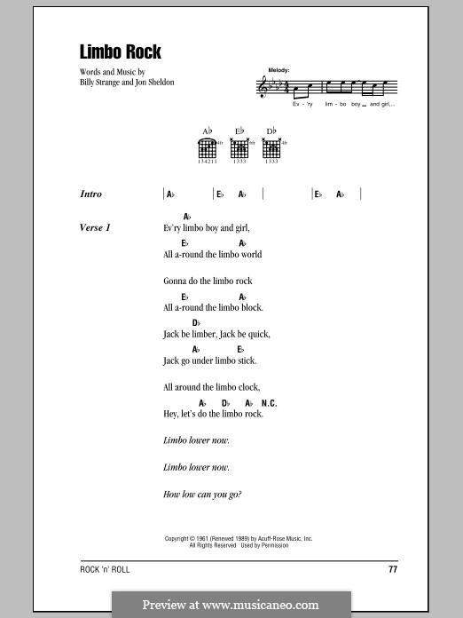 Limbo Rock: Lyrics and chords by Billy Strange, Jon Sheldon