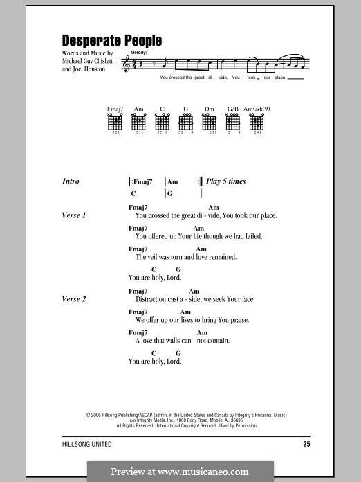 Desperate People (Hillsong United): Lyrics and chords by Joel Houston, Michael Guy Chislett