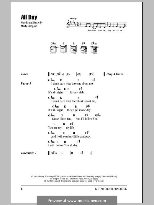 All Day (Hillsong United) by M. Sampson - sheet music on MusicaNeo