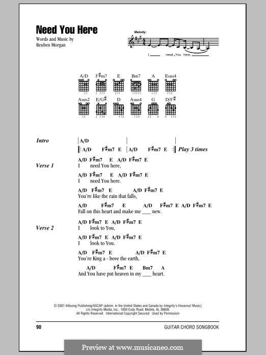 Need You Here (Hillsong United): Lyrics and chords by Reuben Morgan