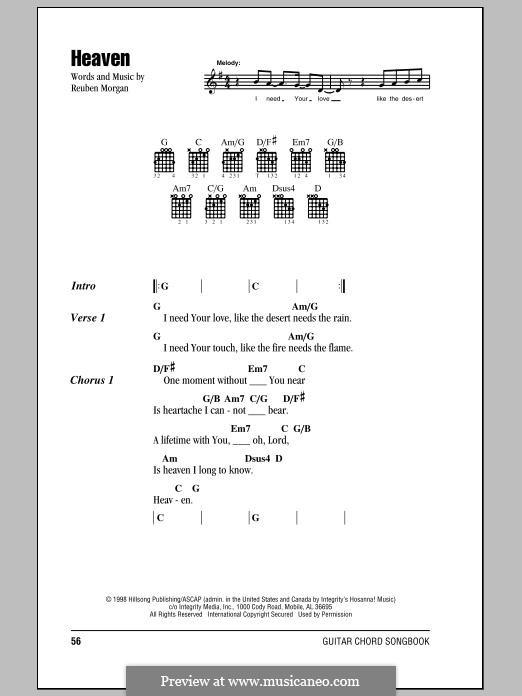 Heaven (Hillsong United) by R. Morgan - sheet music on MusicaNeo