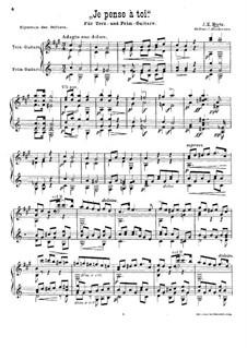 Je pense à toi for Two Guitars: Full score by Johann Kaspar Mertz