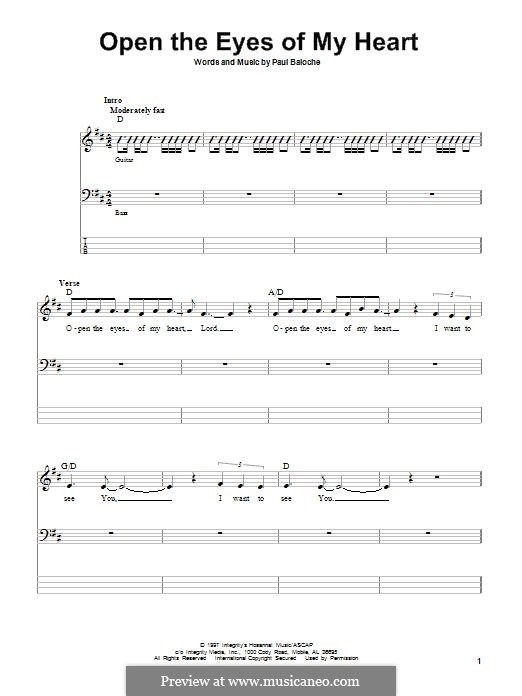Open the Eyes of My Heart: For bass guitar with tab by Paul Baloche