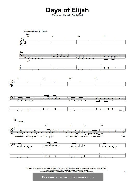 Days of Elijah: For bass guitar with tab by Robin Mark