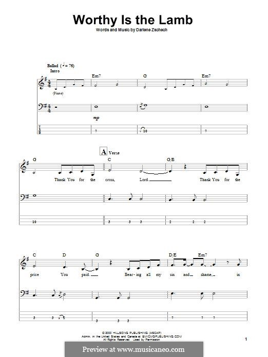 Worthy is the Lamb: For bass guitar with tab by Darlene Zschech