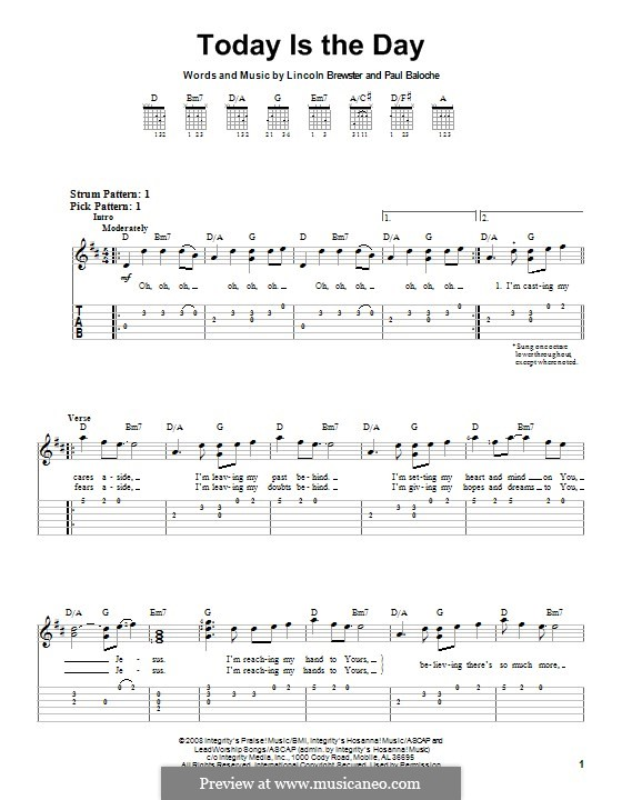 Today is the Day: For guitar with tab by Paul Baloche, Lincoln Brewster