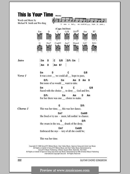 This Is Your Time: Lyrics and chords by Michael W. Smith, Wes King