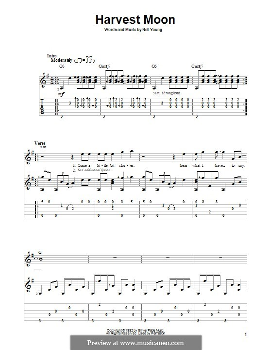Harvest Moon: For guitar with tab by Neil Young
