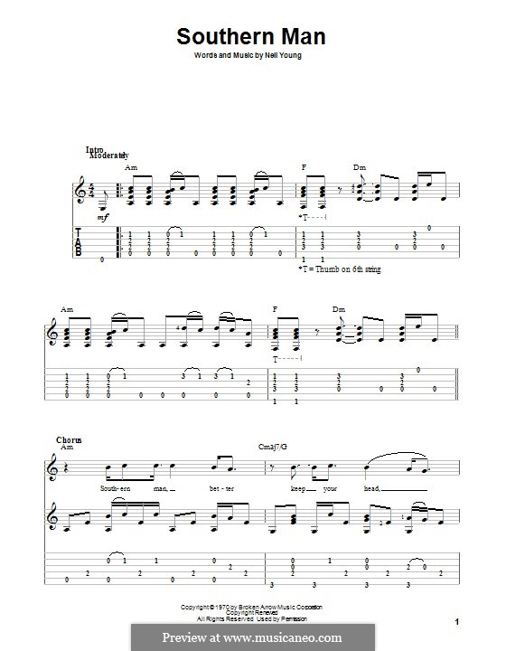 Southern Man: For guitar with tab by Neil Young