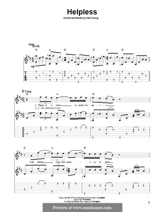 Helpless: For guitar with tab by Neil Young