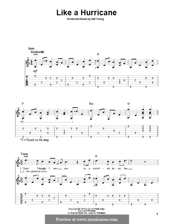 Like a Hurricane: For guitar with tab by Neil Young