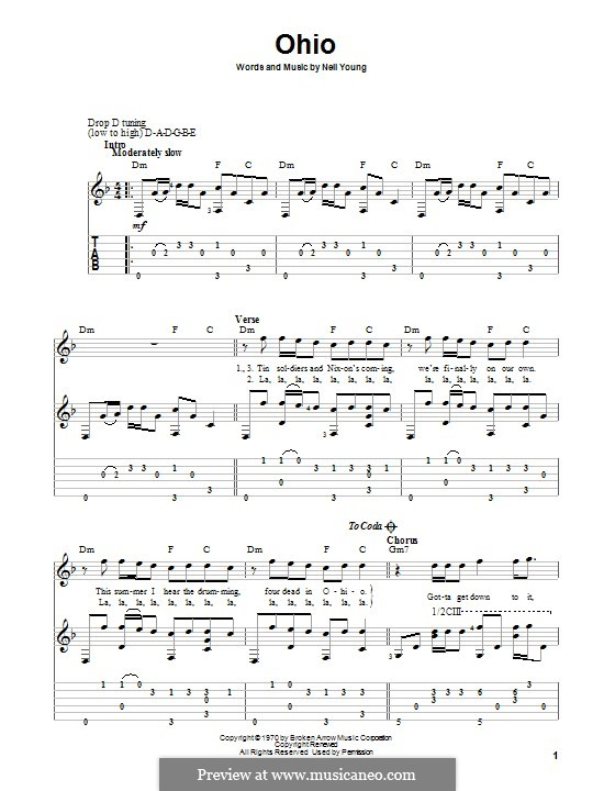 Ohio: For guitar with tab by Neil Young