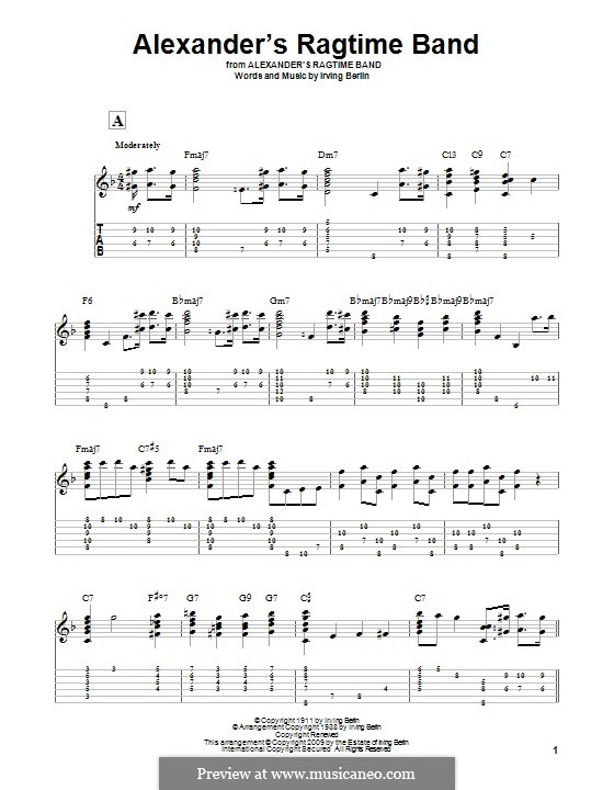 Alexander's Ragtime Band: For guitar with tab by Irving Berlin