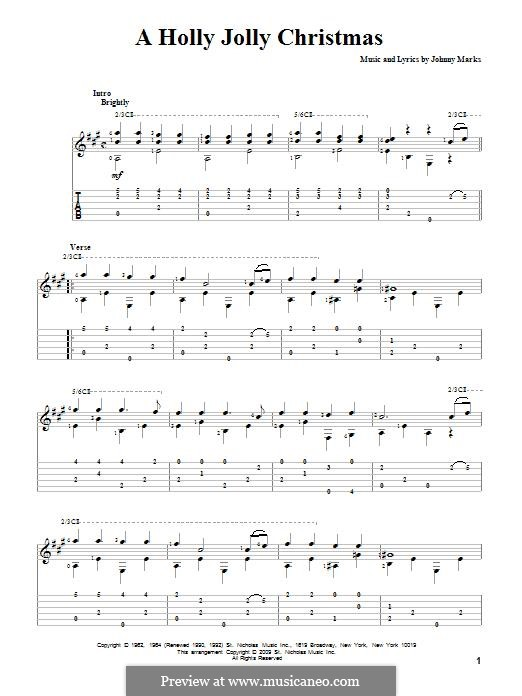 A Holly Jolly Christmas: For guitar with tab by Johnny Marks