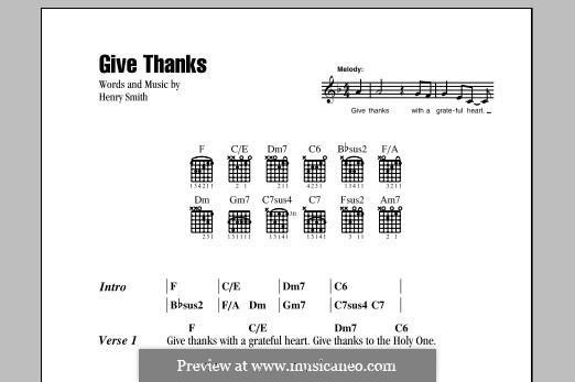 Give Thanks: Lyrics and chords by Henry Smith