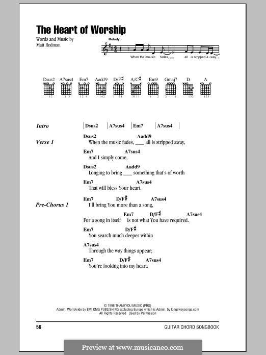 The Heart of Worship: Lyrics and chords by Matt Redman