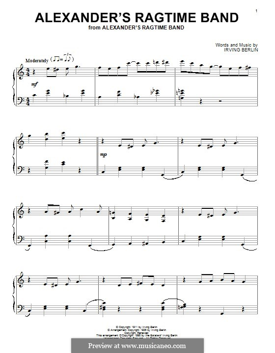 Alexander's Ragtime Band: For piano by Irving Berlin
