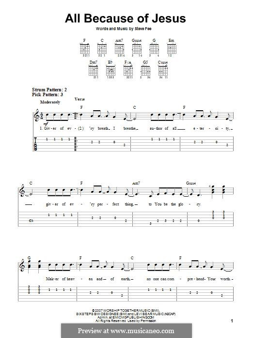 All Because of Jesus (Casting Crowns): For guitar with tab by Steve Fee