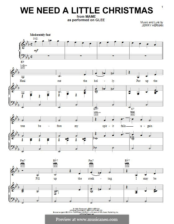 We Need a Little Christmas: For voice and piano (or guitar) by Jerry Herman